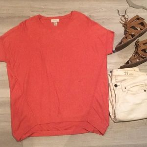 Loft orange top w/ high low fit. Size small.